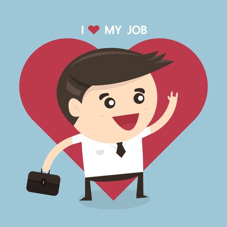 persona feliz: Hombre de negocios feliz. Yo amo a mi concepto de negocio de trabajo, diseño plano