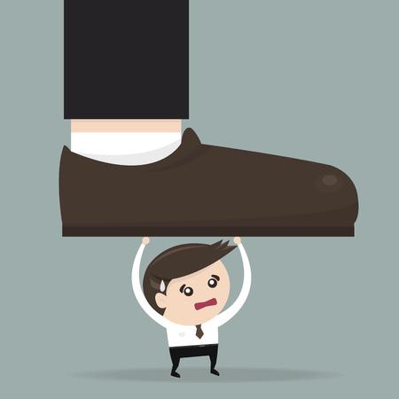 businessman shoes: Businessman holding big businessman foot, flat design, vector Illustration