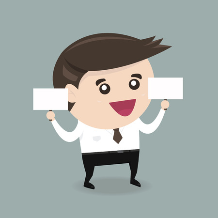 big head: Businessman holding big blank paper over head, flat design, vector EPS10.