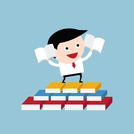 leggere libro: Businessman hold book and read book, business concept, vector. Vettoriali