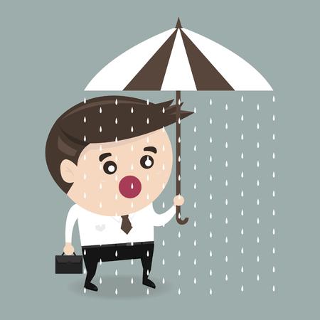 unlucky: Unlucky businessman with umbrella Illustration