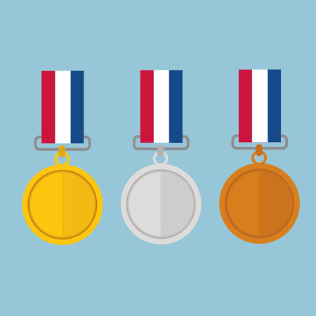 gold silver: Vector illustration of gold medal gold medal and copper medal, flat design