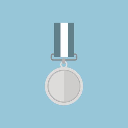 silver medal: Vector illustration of silver medal, flat design Illustration