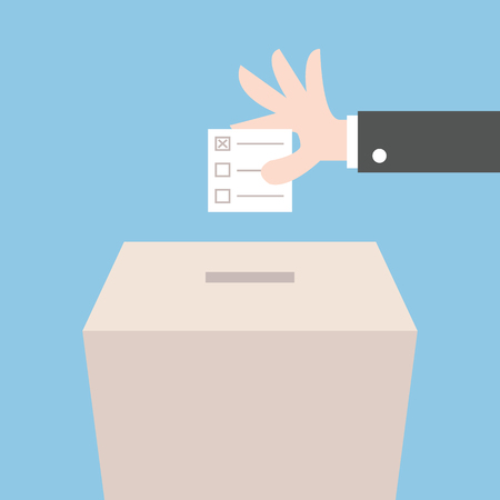 Vote ballot with box. Vector illustration, flat design