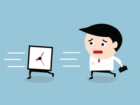 follow: Business man run follow the clock, VECTOR Illustration