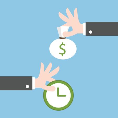 Swap money for time. flat design