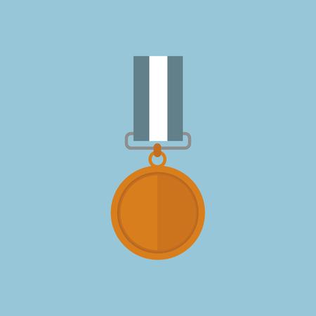 award ceremony: Vector illustration of copper medal, flat design Illustration