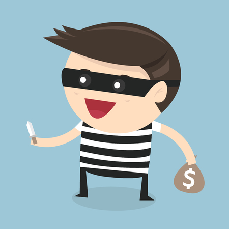 hand holding money bag: Thief cartoon holding knife in his hand and carrying a money bag, flat design