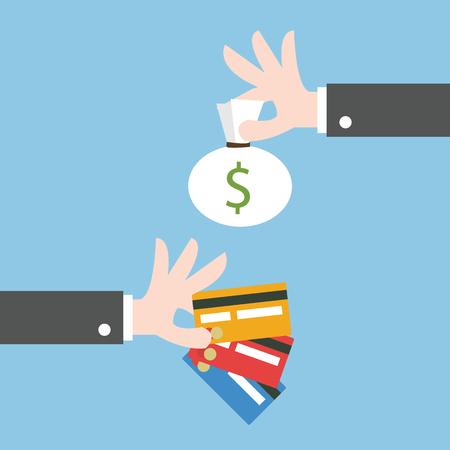 Exchange money for credit card. Flat design 向量圖像