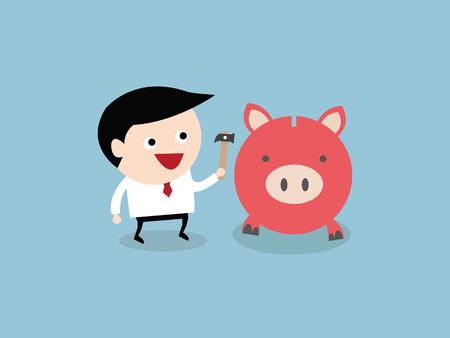 breaks: Businessman breaks piggy bank with a hammer. Illustration, vector EPS10. Vectores