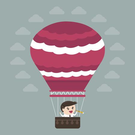 Businessman in hot air balloon, flat design