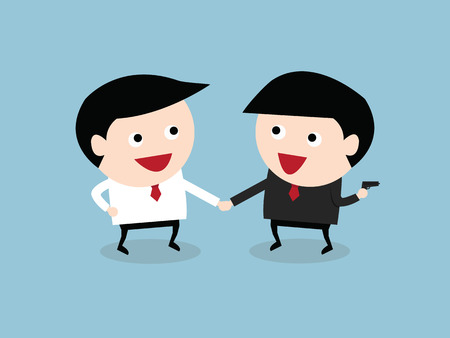 handshaking: business partners handshaking while another people holding gun behind his back, vector