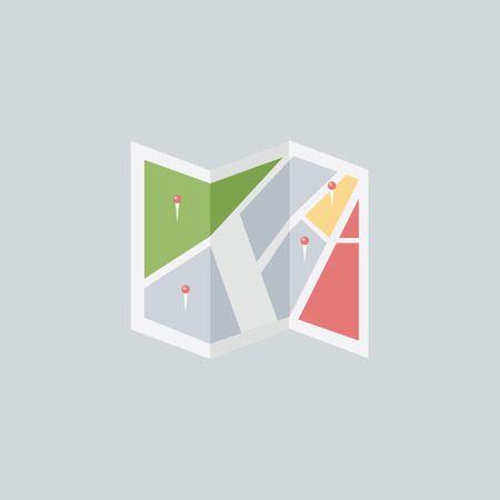 Flat colored location icon, vector, flat design Vectores
