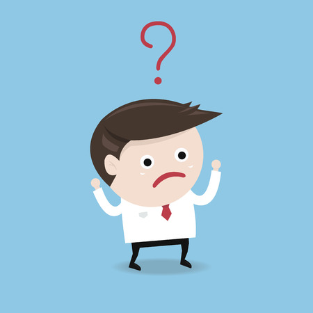 speculating: Businessman with Question mark, flat design