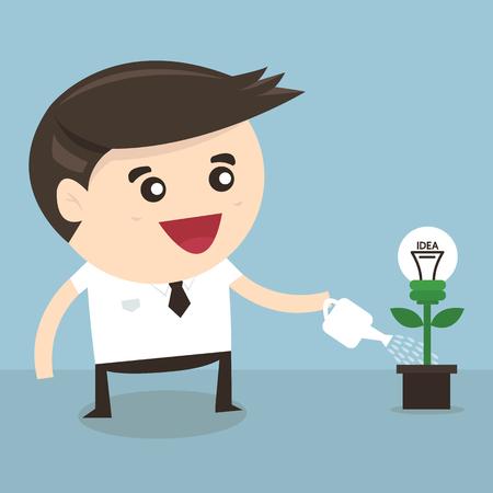 desig: Businessman watering a light bulb idea plant, vector, flat desig Illustration