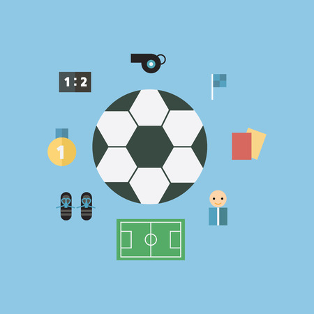 goal cage: Soccer Icons, flat design, vector