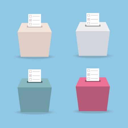 secrecy of voting: ballot box vote 4 color, flat design, vector