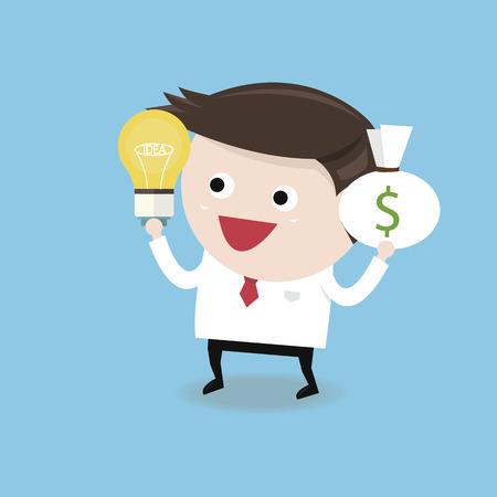 inconstant: Business man balancing idea and money, flat design