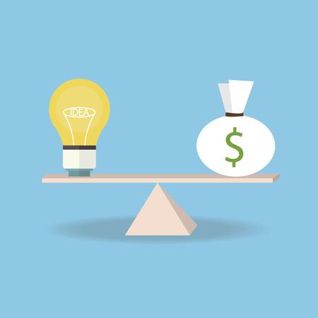 astute: idea and money on the scale. Money concept, flat design