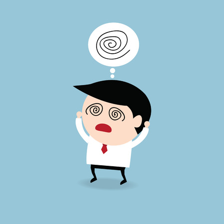 worry: Businessman get confused, flat design Illustration