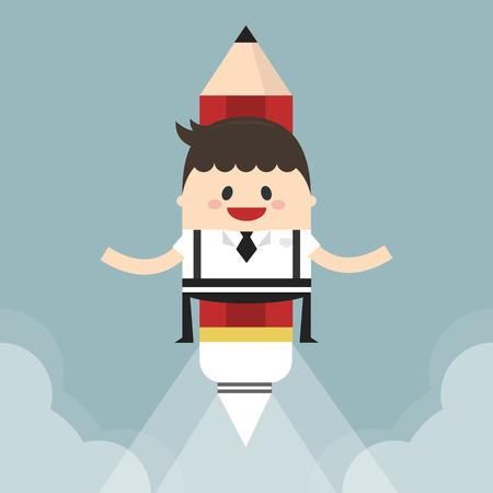 innovator: Businessman flying with a rocket pencil, flat design
