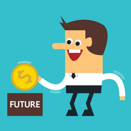 Businessman putting coin into piggy bank , Vector EPS10 Illustration