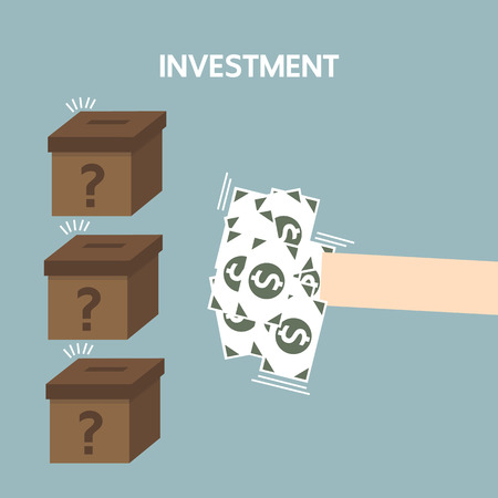 business hand: Hand and box to invest, investment concept, business hand.
