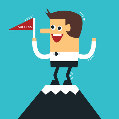 pioneer: Businessman standing on the top of a high mountain, flat design, vector