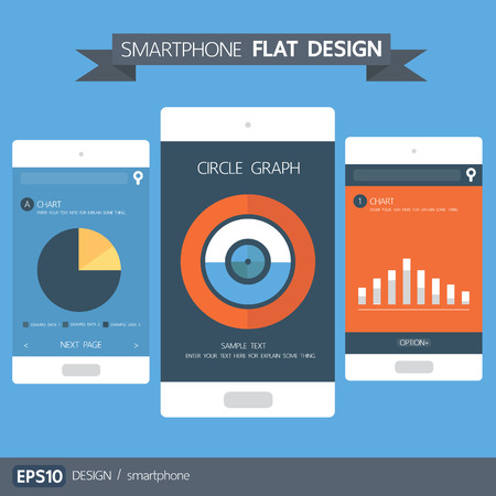 smart card: Smartphone with chart and graph flat design, vector illustion Illustration