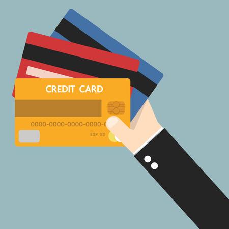 Businessman hand holding credit card, flat design, vector