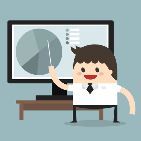 growing partnership: Businessman pointing at a board at a lcd monitor, flat design