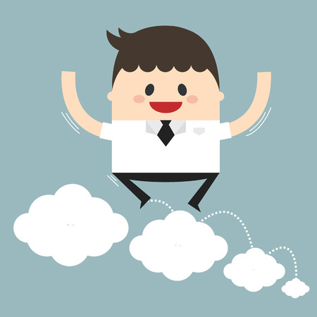 businessman jumping: Vector illustration of businessman jumping on clouds. Flat design.