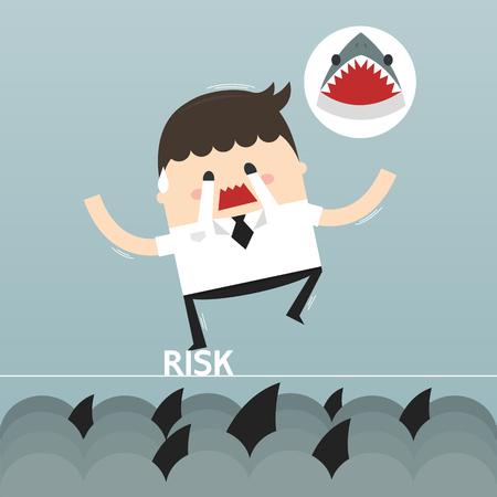 financial risk: businessman in risk, vector, flat design