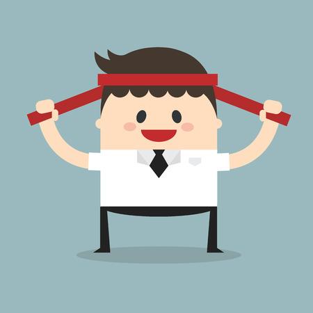 uomo rosso: Uomo d'affari con la fascia rossa, concetto di motivazione vettore. illustrazione, design piatto