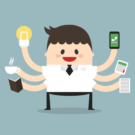 illustion: Businessman with multi tasking and multi skill, flat design, vector, illustion Illustration