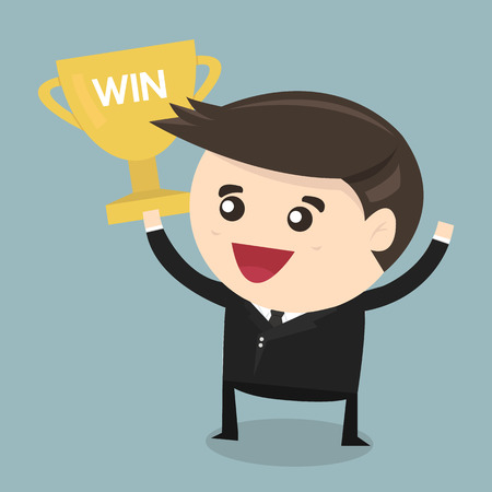 commendation: Businessman holding winning trophy, flat design Illustration