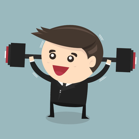 heavy lifting: Strong businessman lifting a heavy weight, business concept vector illustration, flat design Illustration