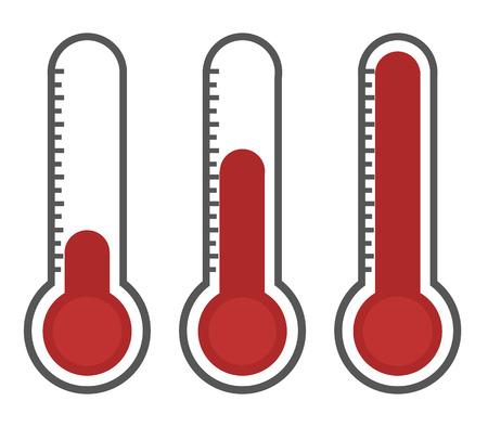 thermometer: ilustración de termómetros rojos con diferentes niveles, estilo plano, EPS10.