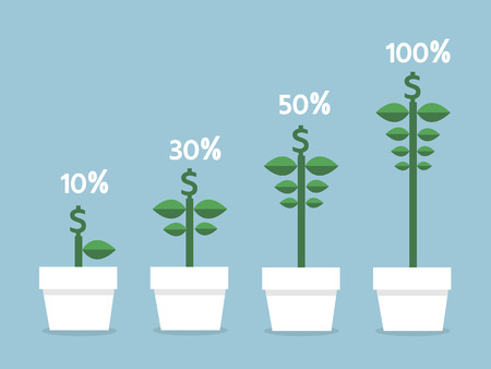 grow money: Interest rates and different size of money flowers, flat design