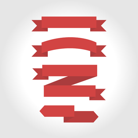 Jeu de ruban rouge, design plat Banque d'images - 49334760