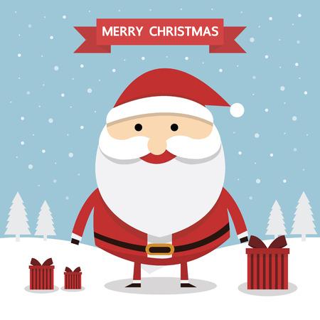 white bacjground: Santa claus. Merry christmas card.