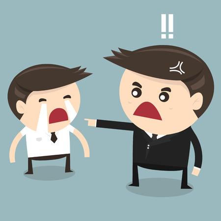 怒っている上司と泣く従業員、フラットなデザイン、ベクトル