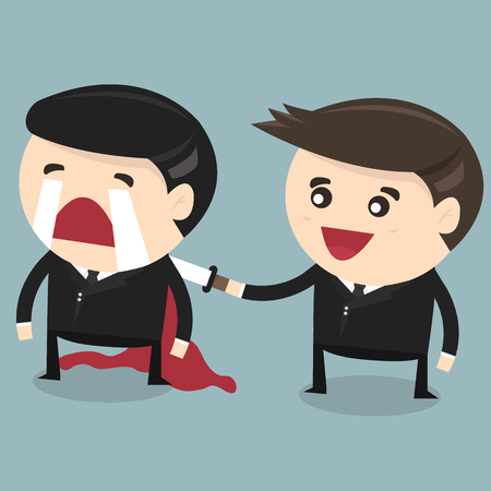 traitor: Businessman stabbed his friend in the back, flat design, vector Illustration