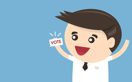 polling booth: Businessman vote, Vector illustration, flat design
