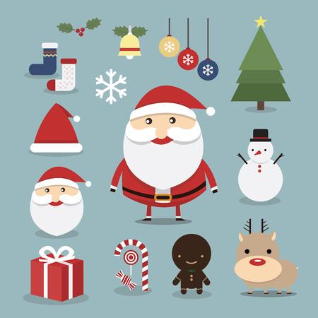 dibujo: Iconos de Navidad conjunto, vector, dise�o plana Vectores