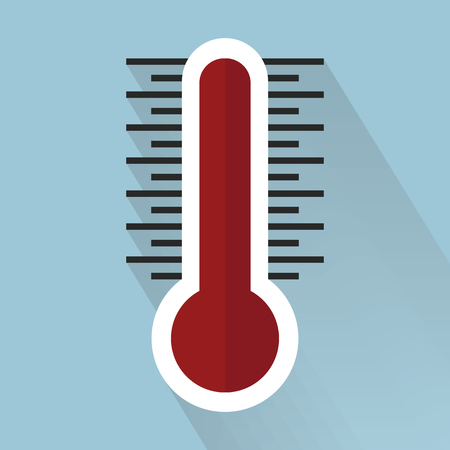 termometer: Thermometer icon , Flat design style, vector illustration. long shadow icon.