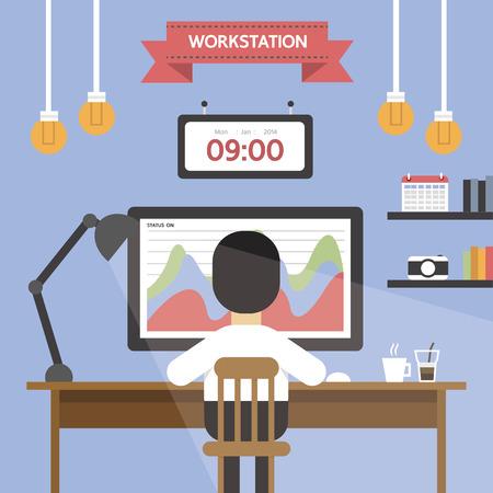 workstation: Workstation, flat design Illustration