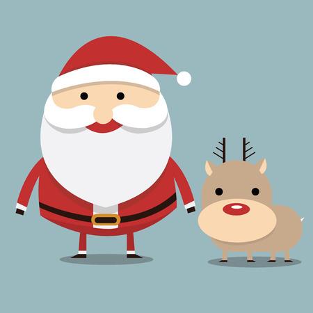 nariz roja: Pap� Noel y reno de la nariz roja, dise�o plano