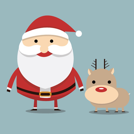 red nose: Santa claus and reindeer red nose, flat design