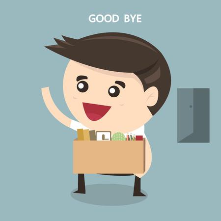 resign: Businessman Leaving Job, vector, flat design
